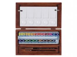 24 Näpfchen Feine Van Gogh Künstler Aquarellfarben im Holz-Aquarellkasten incl. Pinsel und Mischpalette Geschenkset -