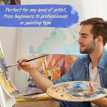 9 Stück Premium Nylon Pinsel für Aquarell, Acryfarben & ölfarben usw. Perfektes Pinsel Set für Anfänger, Kinder, Künstler und Gemälde Liebhaber - 3