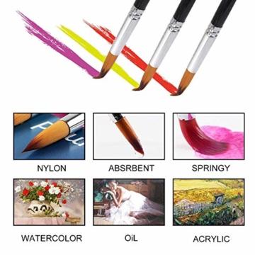 9 Stück Premium Nylon Pinsel für Aquarell, Acryfarben & ölfarben usw. Perfektes Pinsel Set für Anfänger, Kinder, Künstler und Gemälde Liebhaber - 4