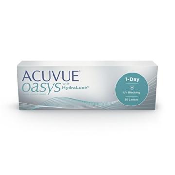 ACUVUE OASYS 1-Day Tageslinsen helfen das Gefühl von müden & trockenen Augen zu reduzieren – Tageskontaktlinsen mit -3 dpt und BC 8.5 – UV Schutz & hoher Tragekomfort – 30 Linsen - 1