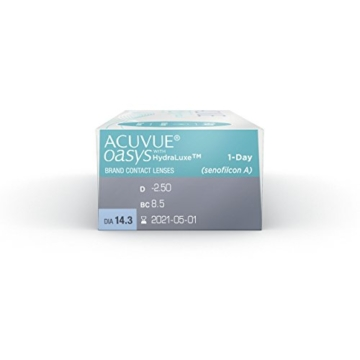 ACUVUE OASYS 1-Day Tageslinsen helfen das Gefühl von müden & trockenen Augen zu reduzieren – Tageskontaktlinsen mit -3 dpt und BC 8.5 – UV Schutz & hoher Tragekomfort – 30 Linsen - 5