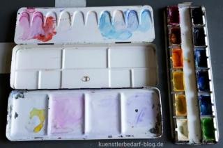 Aquarell -kasten und -farben