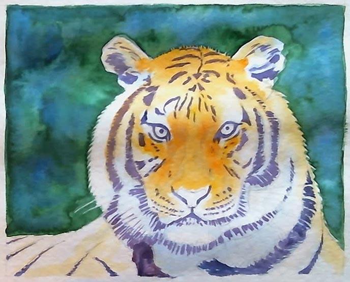 Aquarellbild Tiger: Streifen zunächst blau