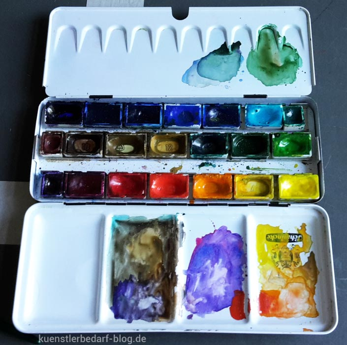 Aquarellkasten von Schmincke ,18 Horadam Aquarellfarben ganze Näpfchen