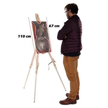 Art-Star Holz Feld STAFFELEI Pine 180cm | Leinwände & Keilrahmen bis 110 cm Höhe | tragbare Feldstaffelei zum Malen - 5