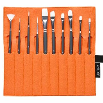 Artina 11 teilig Pinselset Malen Eindhoven - Pinseltasche mit Künstler Pinsel Set in Pinselständer aus Filz - Pinsel für Acryl & Malen - 10 Pinsel mit Pinseltasche & Pinselhalter in Einem - Orange - 4
