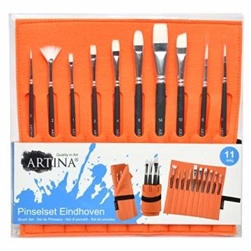 Artina 11 teilig Pinselset Malen Eindhoven - Pinseltasche mit Künstler Pinsel Set in Pinselständer aus Filz - Pinsel für Acryl & Malen - 10 Pinsel mit Pinseltasche & Pinselhalter in Einem - Orange - 6