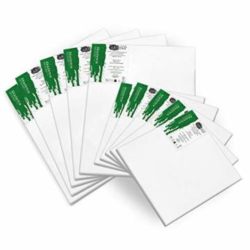 Artina Akademie Keilrahmen FSC®-Zertifiziert 10er Set 5 x 30x40 cm & 5 x 20x20 cm- Aus 100% Baumwolle Leinwand Keilrahmen weiß - 280g/m² - verzugsfrei - 2