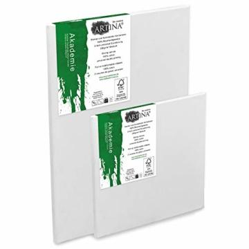 Artina Akademie Keilrahmen FSC®-Zertifiziert 10er Set 5 x 30x40 cm & 5 x 20x20 cm- Aus 100% Baumwolle Leinwand Keilrahmen weiß - 280g/m² - verzugsfrei - 4