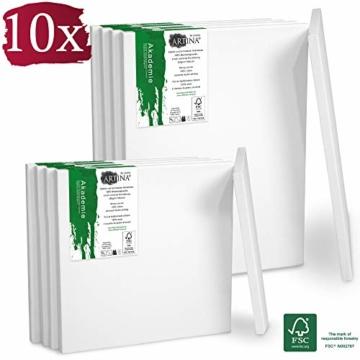 Artina Akademie Keilrahmen FSC®-Zertifiziert 10er Set 5 x 30x40 cm & 5 x 20x20 cm- Aus 100% Baumwolle Leinwand Keilrahmen weiß - 280g/m² - verzugsfrei - 1