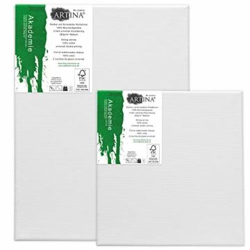 Artina Akademie Keilrahmen FSC®-Zertifiziert 10er Set 5 x 30x40 cm & 5 x 20x20 cm- Aus 100% Baumwolle Leinwand Keilrahmen weiß - 280g/m² - verzugsfrei - 5
