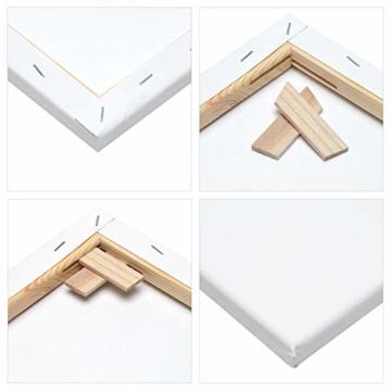 Artina Akademie Keilrahmen FSC®-Zertifiziert 10er Set 5 x 30x40 cm & 5 x 20x20 cm- Aus 100% Baumwolle Leinwand Keilrahmen weiß - 280g/m² - verzugsfrei - 6