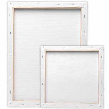 Artina Akademie Keilrahmen FSC®-Zertifiziert 10er Set 5 x 30x40 cm & 5 x 20x20 cm- Aus 100% Baumwolle Leinwand Keilrahmen weiß - 280g/m² - verzugsfrei - 9