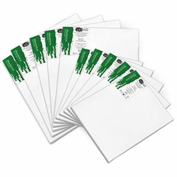 Artina Akademie Keilrahmen FSC®-Zertifiziert 10er Set 5 x 40x50 cm & 5 x 30x40 cm- Aus 100% Baumwolle Leinwand Keilrahmen weiß - 280g/m² - verzugsfrei - 2