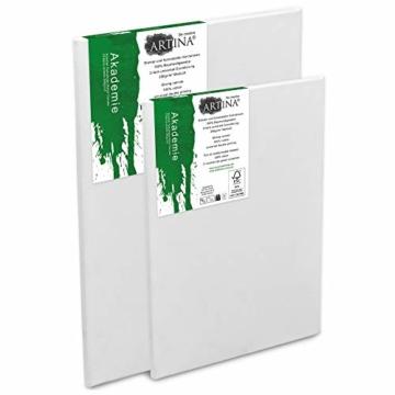 Artina Akademie Keilrahmen FSC®-Zertifiziert 10er Set 5 x 40x50 cm & 5 x 30x40 cm- Aus 100% Baumwolle Leinwand Keilrahmen weiß - 280g/m² - verzugsfrei - 4