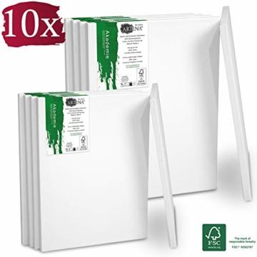 Artina Akademie Keilrahmen FSC®-Zertifiziert 10er Set 5 x 40x50 cm & 5 x 30x40 cm- Aus 100% Baumwolle Leinwand Keilrahmen weiß - 280g/m² - verzugsfrei - 1