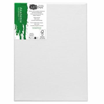 Artina Akademie Keilrahmen FSC®-Zertifiziert 10er Set 5 x 40x50 cm & 5 x 30x40 cm- Aus 100% Baumwolle Leinwand Keilrahmen weiß - 280g/m² - verzugsfrei - 5