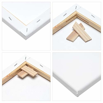 Artina Akademie Keilrahmen FSC®-Zertifiziert 10er Set 5 x 40x50 cm & 5 x 30x40 cm- Aus 100% Baumwolle Leinwand Keilrahmen weiß - 280g/m² - verzugsfrei - 6