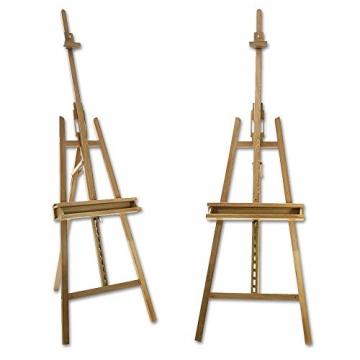Artina® Akademie-Staffelei Barcelona Buche-Holz Profi Künstler-Bedarf für Keilrahmen Größe bis 120cm mit Doppelauflage - 2
