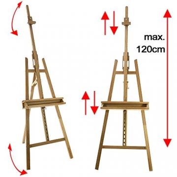 Artina® Akademie-Staffelei Barcelona Buche-Holz Profi Künstler-Bedarf für Keilrahmen Größe bis 120cm mit Doppelauflage - 4