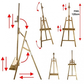 Artina® Akademie-Staffelei Barcelona Buche-Holz Profi Künstler-Bedarf für Keilrahmen Größe bis 120cm mit Doppelauflage - 5