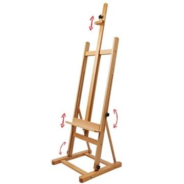 Artina Atelierstaffelei Siena Staffelei Massive Holzstaffelei aus geöltem Buchenholz für Leinwände bis 125 cm - klappbar - 3