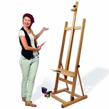 Artina Atelierstaffelei Siena Staffelei Massive Holzstaffelei aus geöltem Buchenholz für Leinwände bis 125 cm - klappbar - 1