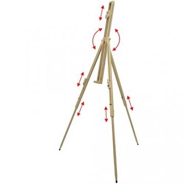 Artina® Feld-Staffelei Malaga aus Massiv-Holz: tragbare, leichte Staffelei & äußerst stabil. Perfekt als Künstler-Bedarf - 2