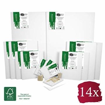 Artina FSC® Keilrahmen 14er Set Akademie - 50x70, 30x40 cm, 24x30, 13x18 cm Leinwand Set - 100% Baumwolle 280g/m² - 1