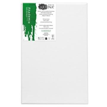 Artina FSC Keilrahmen Akademie 20x30 cm 5er Set - Aus 100% Baumwolle Leinwand Keilrahmen weiß - 280g/m² - verzugsfrei - 2