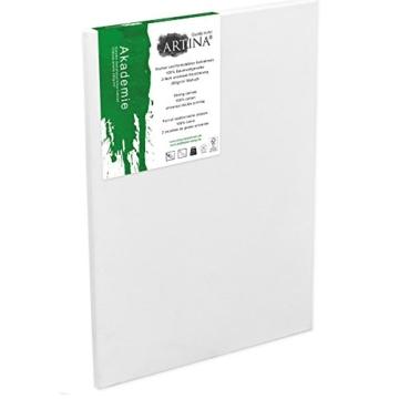Artina FSC Keilrahmen Akademie 20x30 cm 5er Set - Aus 100% Baumwolle Leinwand Keilrahmen weiß - 280g/m² - verzugsfrei - 3