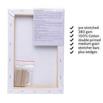 Artina FSC Keilrahmen Akademie 20x30 cm 5er Set - Aus 100% Baumwolle Leinwand Keilrahmen weiß - 280g/m² - verzugsfrei - 4