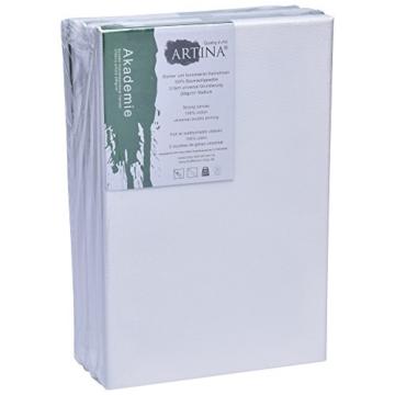 Artina FSC Keilrahmen Akademie 20x30 cm 5er Set - Aus 100% Baumwolle Leinwand Keilrahmen weiß - 280g/m² - verzugsfrei - 8