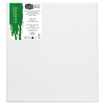 Artina FSC Keilrahmen Akademie 30x40 cm 5er Set - Aus 100% Baumwolle Leinwand Keilrahmen weiß - 280g/m² - verzugsfrei - 2