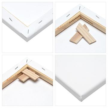 Artina FSC Keilrahmen Akademie 30x40 cm 5er Set - Aus 100% Baumwolle Leinwand Keilrahmen weiß - 280g/m² - verzugsfrei - 5