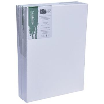 Artina FSC Keilrahmen Akademie 30x40 cm 5er Set - Aus 100% Baumwolle Leinwand Keilrahmen weiß - 280g/m² - verzugsfrei - 8