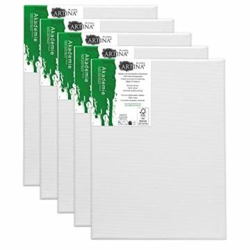 Artina FSC Keilrahmen Akademie 5er Set 18x24 cm - Aus 100% Baumwolle Leinwand Keilrahmen weiß - 280g/m² - verzugsfrei - 3