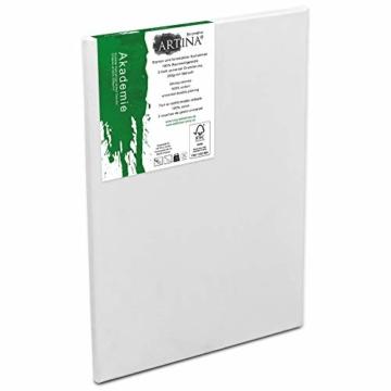 Artina FSC Keilrahmen Akademie 5er Set 18x24 cm - Aus 100% Baumwolle Leinwand Keilrahmen weiß - 280g/m² - verzugsfrei - 4