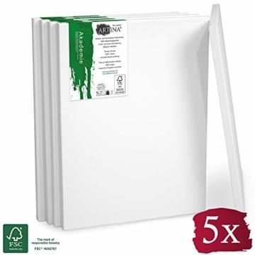 Artina FSC Keilrahmen Akademie 5er Set 18x24 cm - Aus 100% Baumwolle Leinwand Keilrahmen weiß - 280g/m² - verzugsfrei - 1