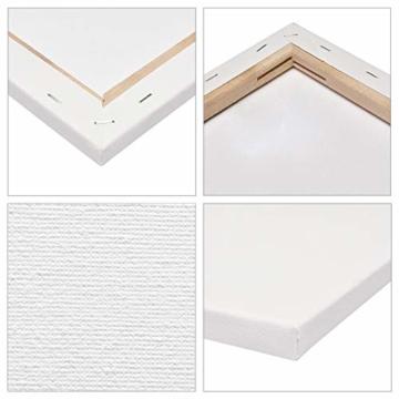 Artina FSC Keilrahmen Akademie 5er Set 18x24 cm - Aus 100% Baumwolle Leinwand Keilrahmen weiß - 280g/m² - verzugsfrei - 6