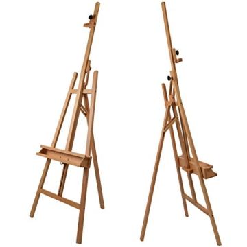 Artina Leinwand Staffelei Holz groß Barcelona - Holz-Staffelei aus Buche - Natur Künstler Staffelei für Keilrahmen bis 120 cm mit Doppelauflage - 2