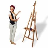 Artina Leinwand Staffelei Holz groß Barcelona - Holz-Staffelei aus Buche - Natur Künstler Staffelei für Keilrahmen bis 120 cm mit Doppelauflage - 1