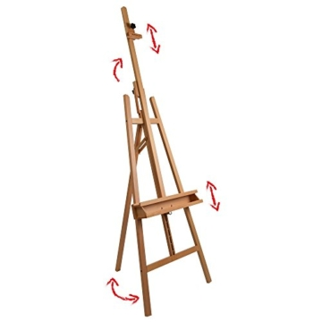 Artina Leinwand Staffelei Holz groß Barcelona - Holz-Staffelei aus Buche - Natur Künstler Staffelei für Keilrahmen bis 120 cm mit Doppelauflage - 3