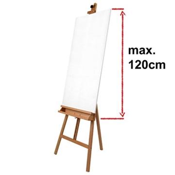 Artina Leinwand Staffelei Holz groß Barcelona - Holz-Staffelei aus Buche - Natur Künstler Staffelei für Keilrahmen bis 120 cm mit Doppelauflage - 4