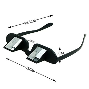 Asnlove Lazy Glasses, Brille Winkelbrille Lazy Readers 90 Grad HD Horizontale Brille Brechung-Brille Prismen-Brille, Schwarz - 2