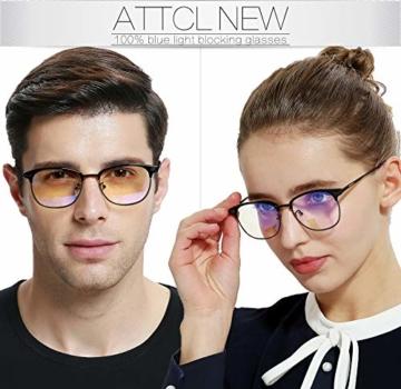 ATTCL Unisex blaulichtfilter brille computerbrille zum Blockieren von UV-Kopfschmerz [Verringerung der Augenbelastung] Gaming Brille,(Herren/Damen) 5054 Black-ALL - 2