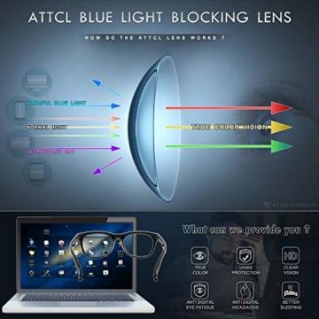 ATTCL Unisex blaulichtfilter brille computerbrille zum Blockieren von UV-Kopfschmerz [Verringerung der Augenbelastung] Gaming Brille,(Herren/Damen) 5054 Black-ALL - 5