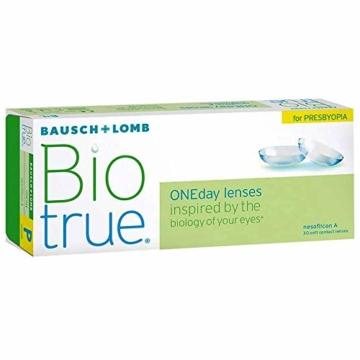 Bausch und Lomb Biotrue ONEday for Presbyopia Tageslinsen, Gleitsicht-Kontaktlinsen, weich, 30 Stück -02.50 Dpt, DIA 14,2 mm, BC 8,60, Add Low - 2