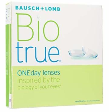 Bausch und Lomb Biotrue ONEday Tageslinsen, sphärische Kontaktlinsen, weich, 90 Stück BC 8.6 mm / DIA 14.2 / -2.5 Dioptrien - 2