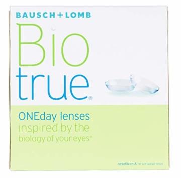 Bausch und Lomb Biotrue ONEday Tageslinsen, sphärische Kontaktlinsen, weich, 90 Stück BC 8.6 mm / DIA 14.2 / -2.5 Dioptrien - 3